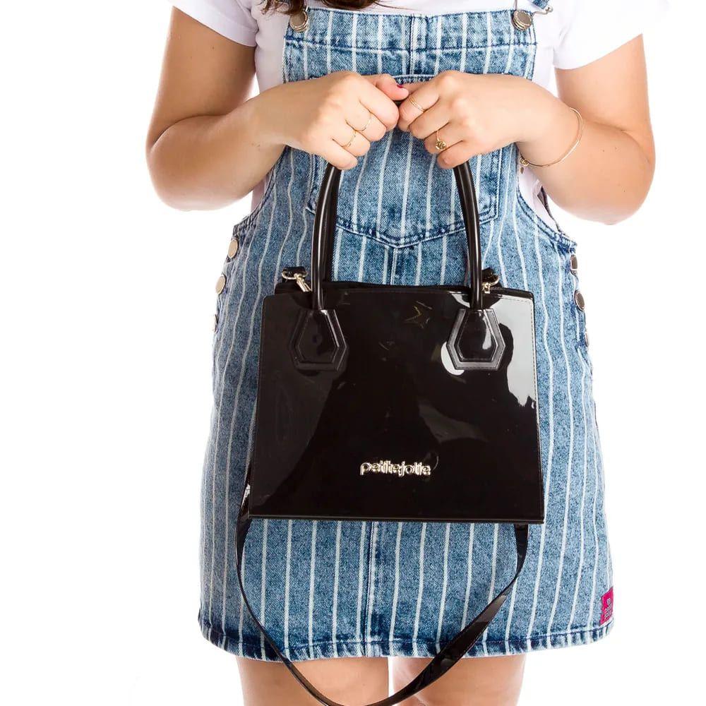 Bolsa Petite Jolie  Quadrada Média Bing PJ4301 Preta  - Prime Bolsas