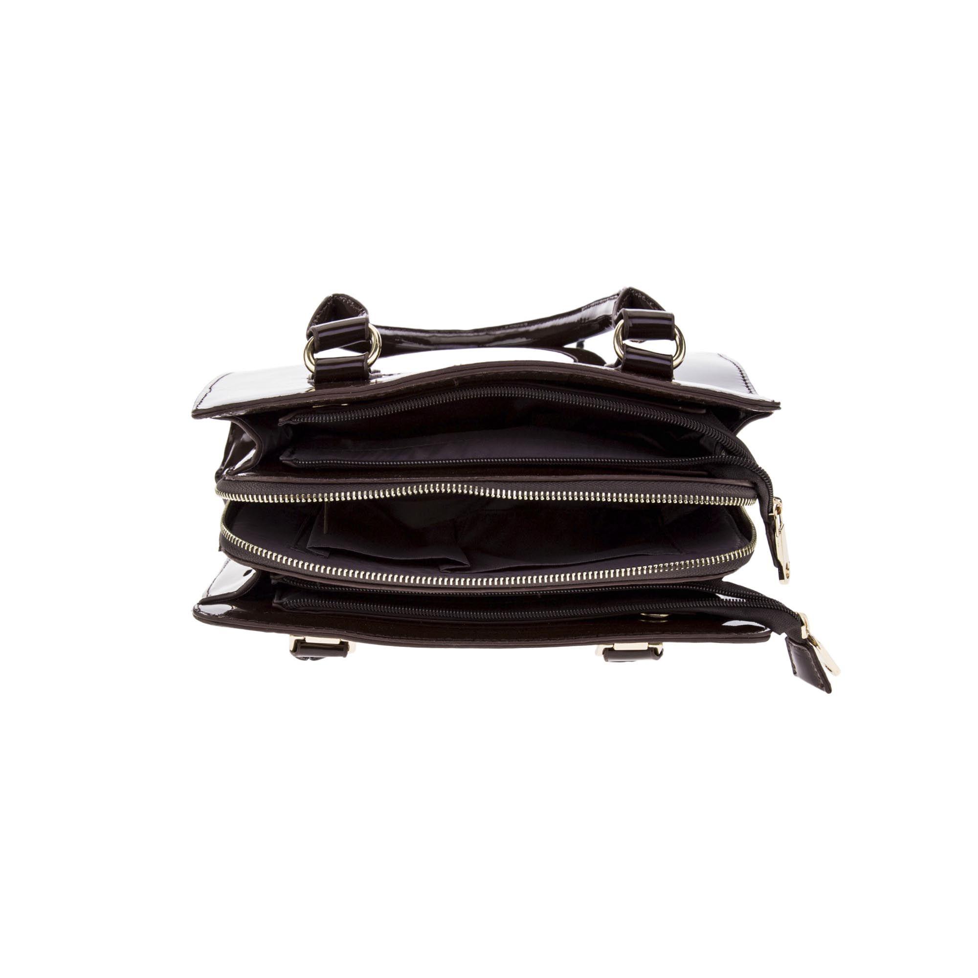 Bolsa de Ombro Verniz Marrom Escuro com Alça Removível  - Prime Bolsas