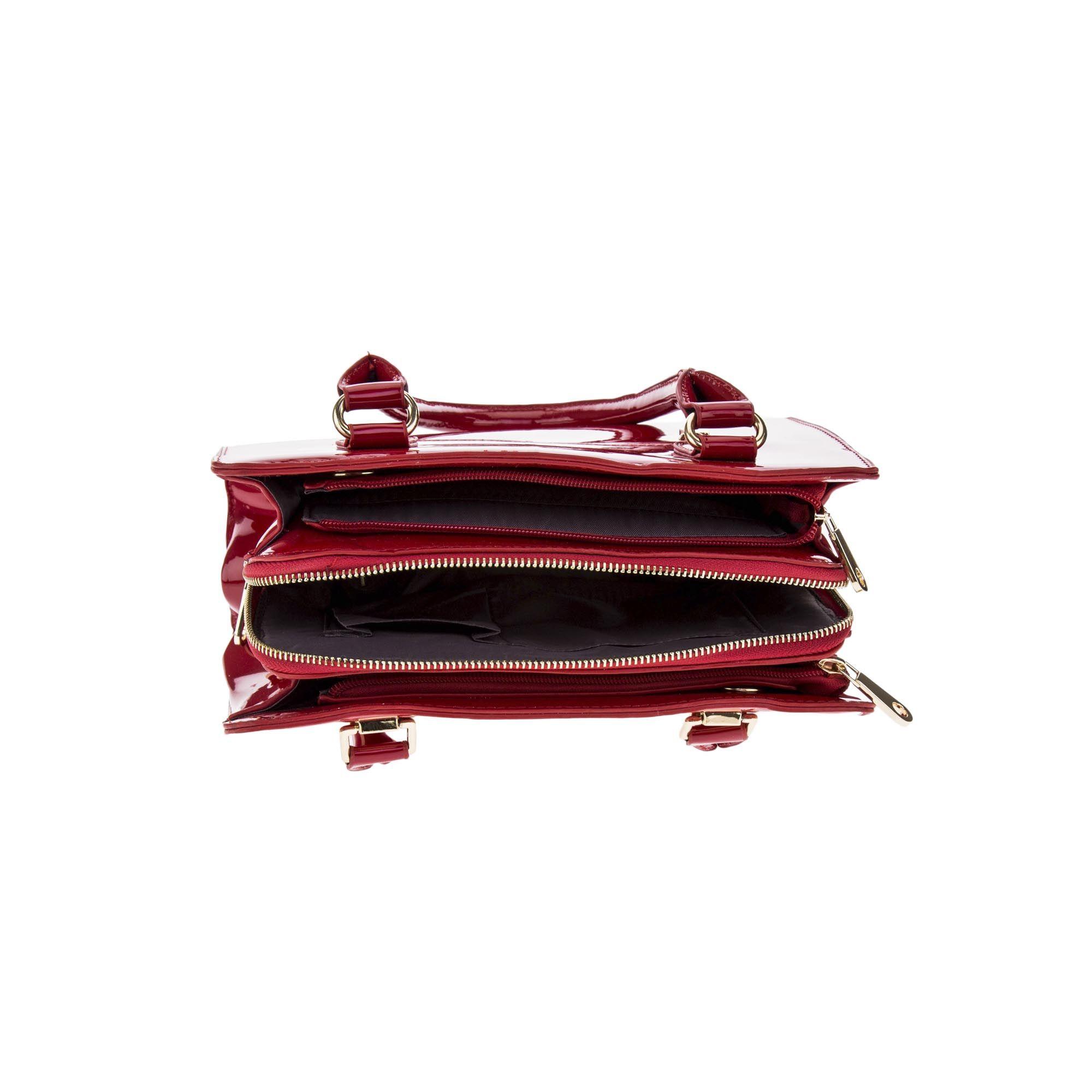 Bolsa de Ombro Verniz Vermelha com Alça Removível  - Prime Bolsas