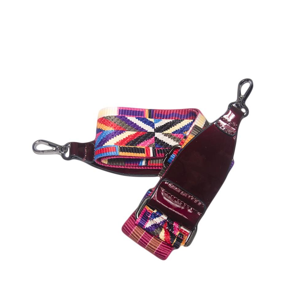 Bolsa de Mão Verniz Vinho com Alça Transversal Colorida  - Prime Bolsas