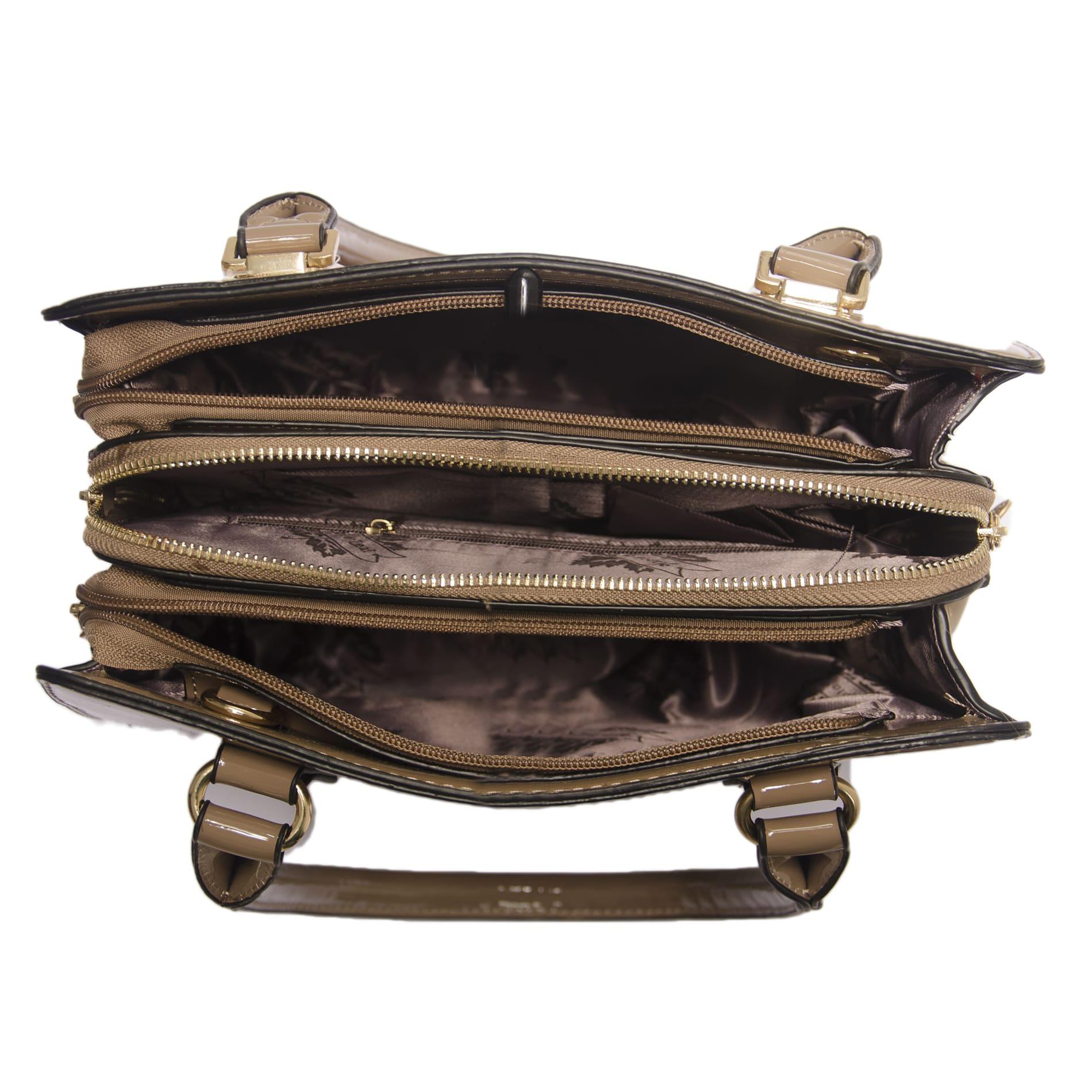 Bolsa de Mão Verniz Caqui com Alça Removível  - Prime Bolsas