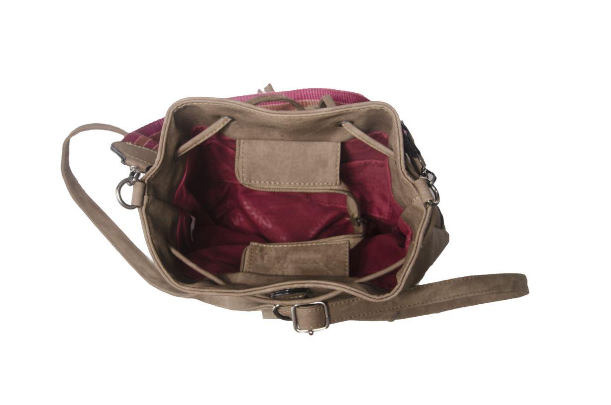 Bolsa Saco Mochila Marrom Escuro com Alça Colorida  - Prime Bolsas