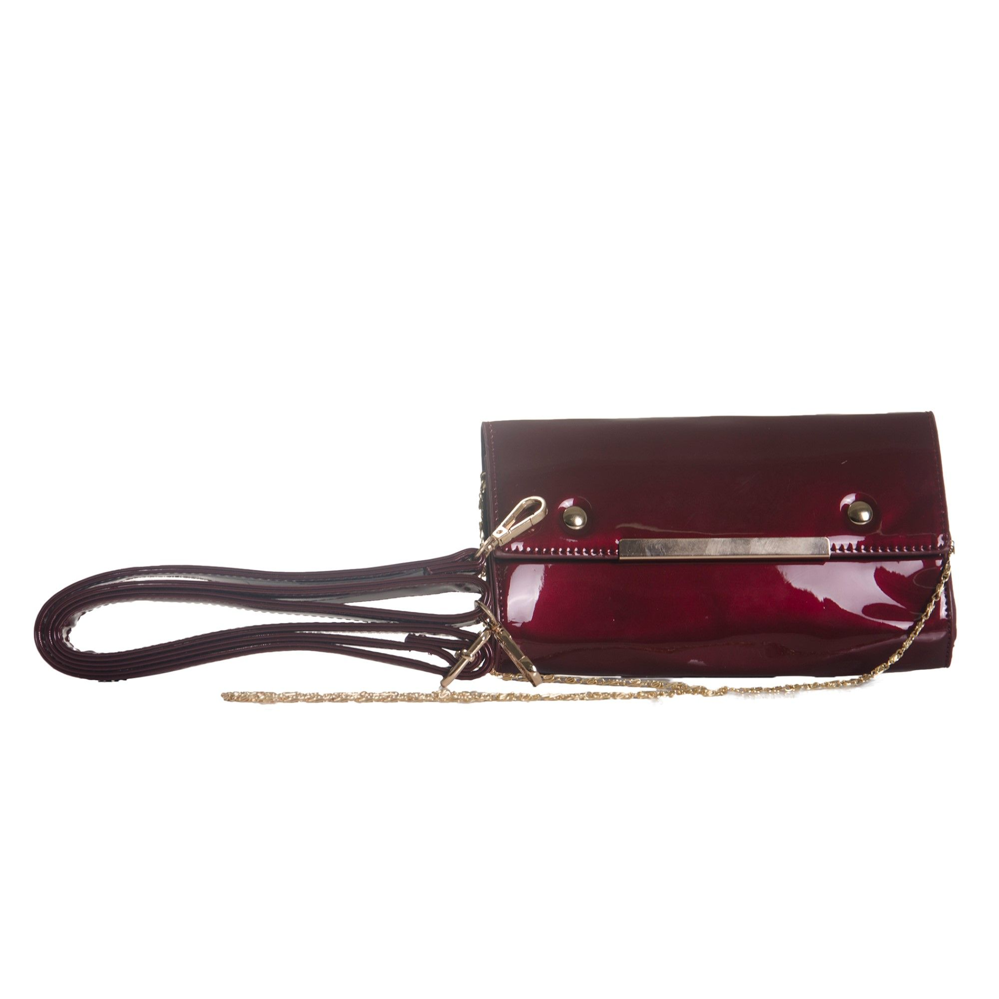 Bolsa de Mão Verniz Vinho com Alça Removível e Bolsa Carteira Clutch  - Prime Bolsas