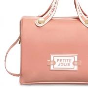 Bolsa  Média Petite Jolie Lana PJ10298 Rosa Antigo com Branco