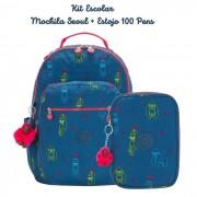 Kit Escolar Mochila Seoul + Estojo 100 Pens Kipling