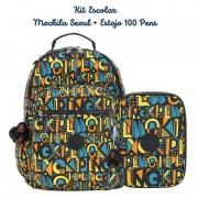 Kit Escolar Mochila Seoul + Estojo 100 Pens Kipling Deco Print