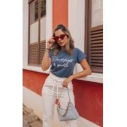 T-Shirt Estonada Azul Estampa Don´t Forget
