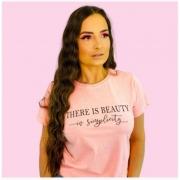 T-Shirt Estonada Rosa Estampa Beauty
