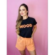 T-Shirt Preta Estampa Mood