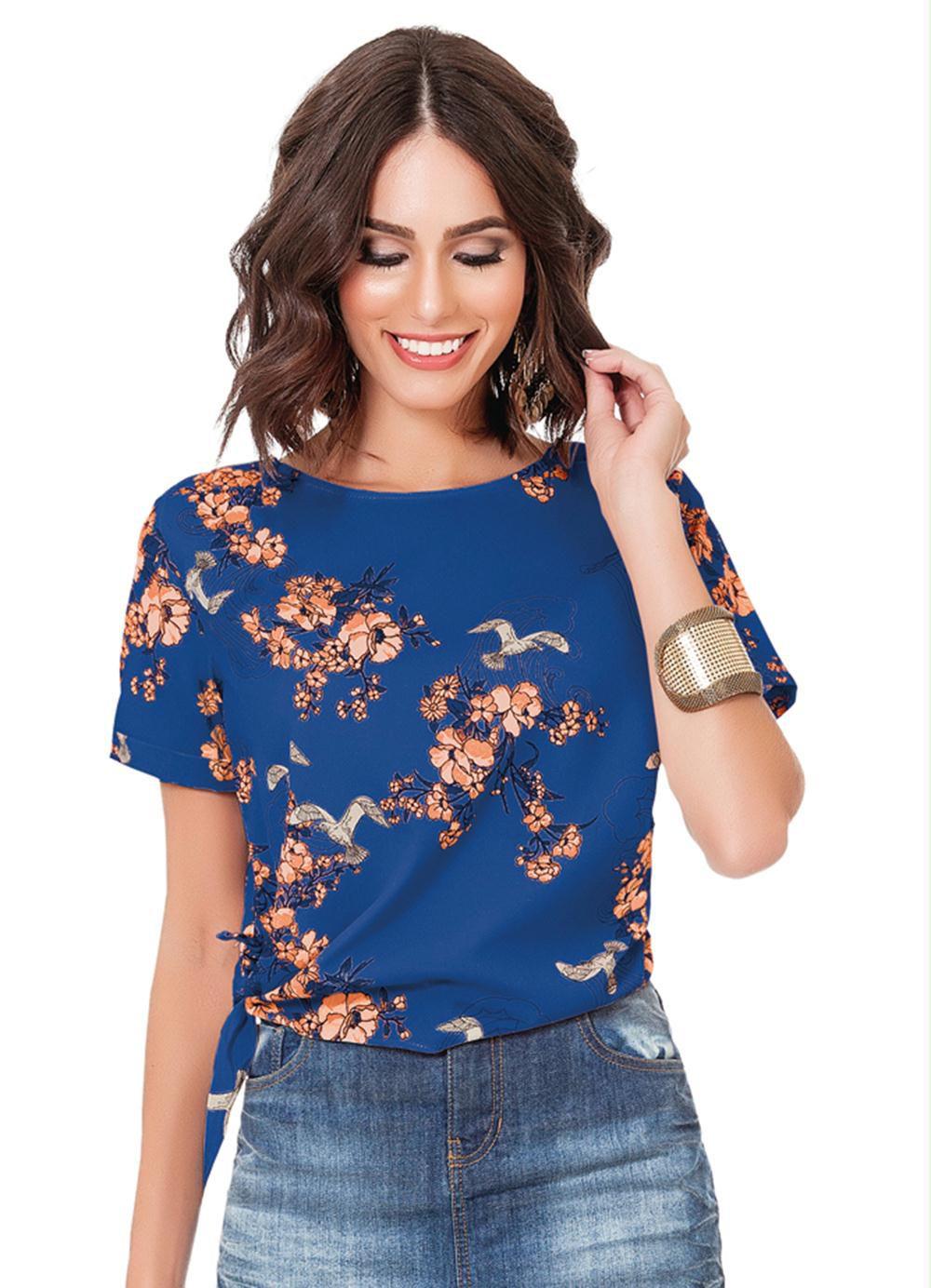 Blusa Azul Estampada com Amarração Lateral
