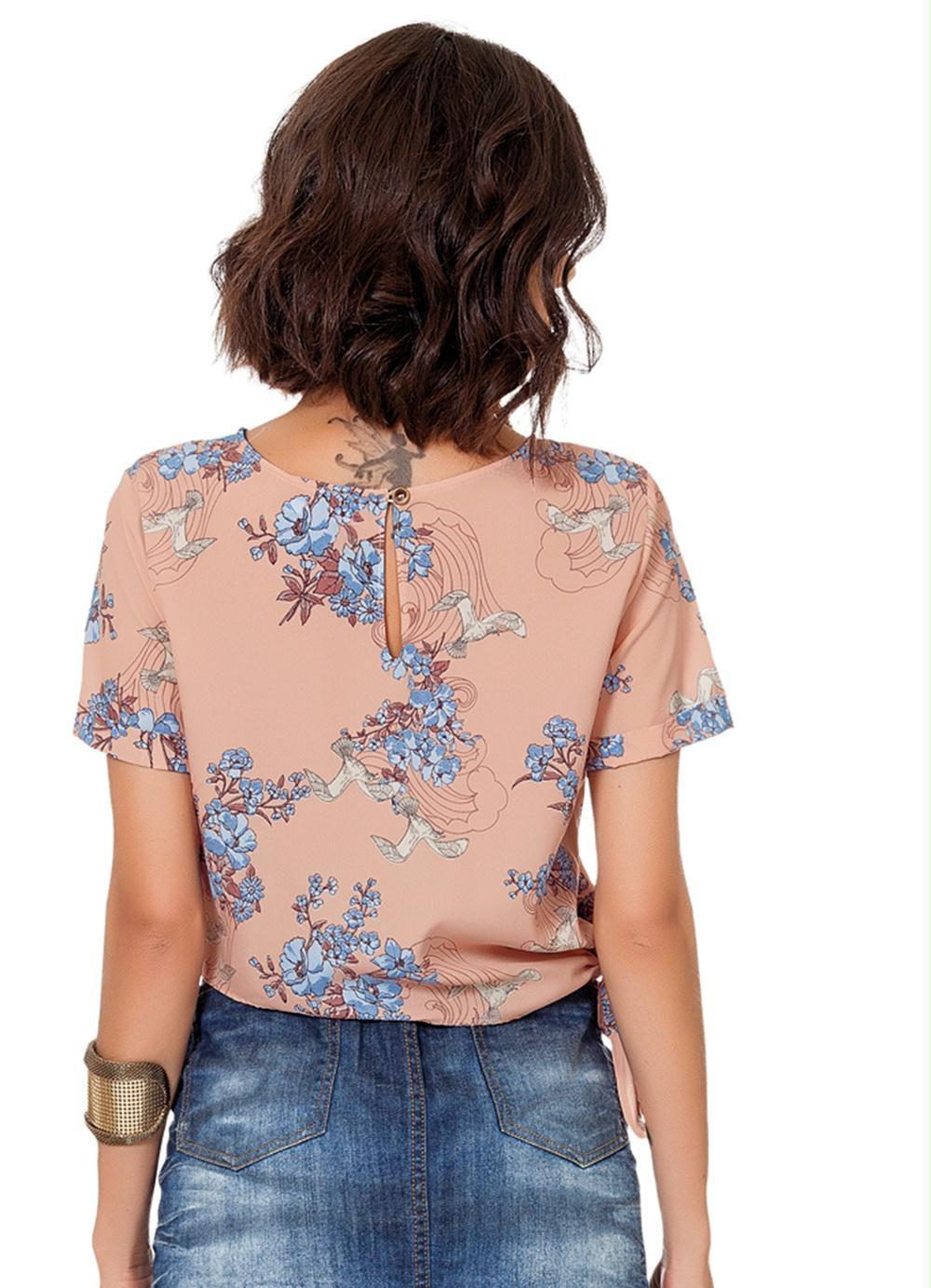Blusa Rosa Estampada com Amarração Lateral