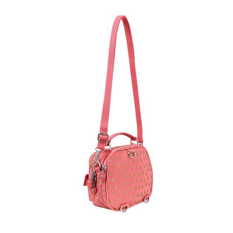 Bolsa Pequena Puck Kipling Pink Gold Drop