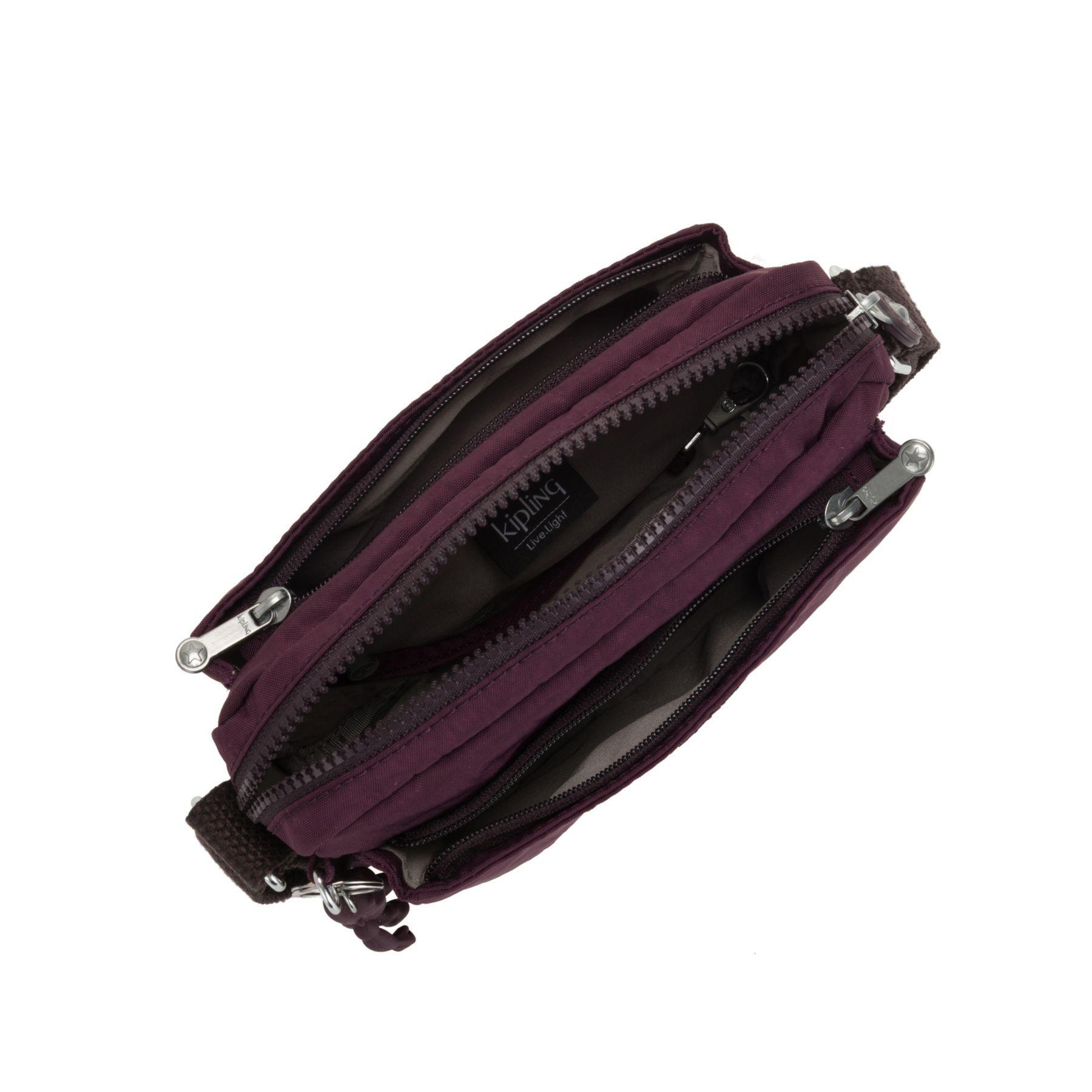 Bolsa Pequena Transversal Kipling Abanu Dark Plum