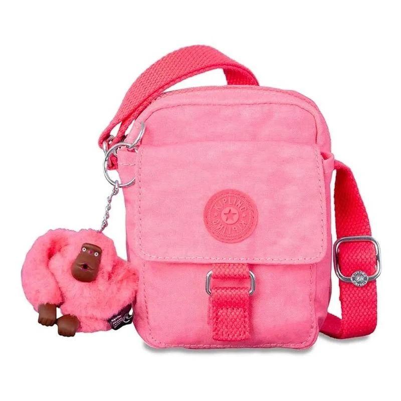 Bolsa Pequena Transversal Teddy Kipling Fiesta Pink