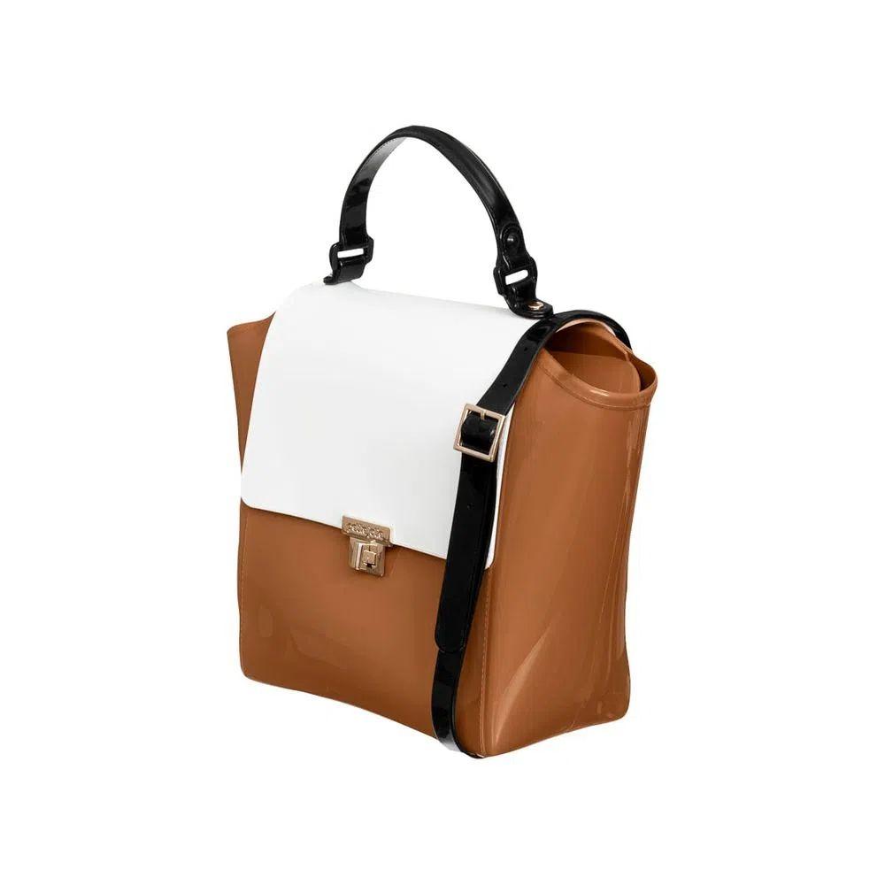 Bolsa Petite Jolie Shape Caramelo/Branco/Preto PJ6019