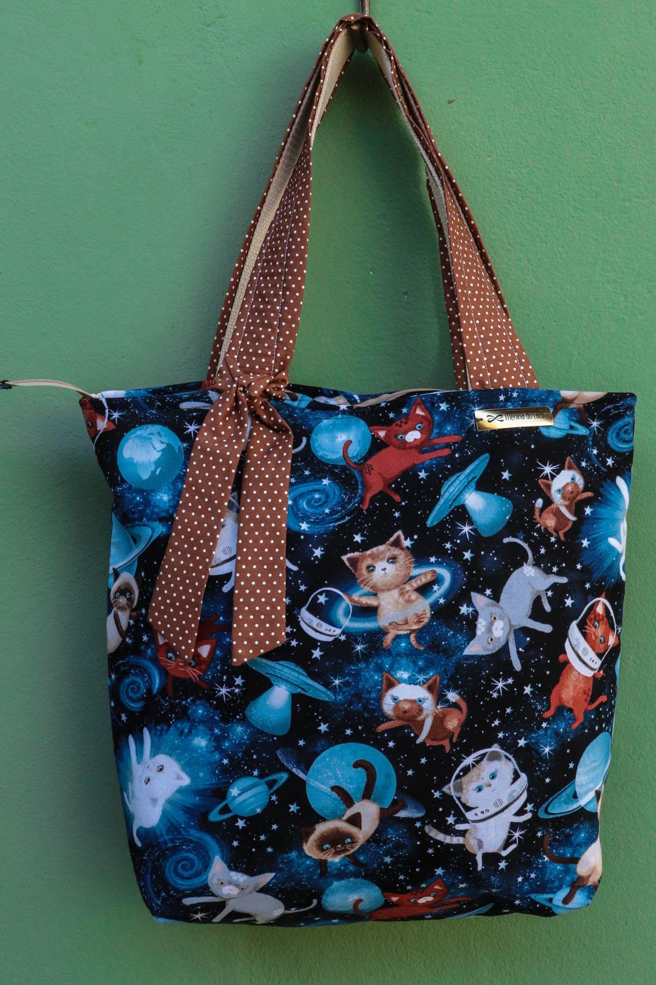 Bolsa Tecido Estampa de Gatos Espaciais