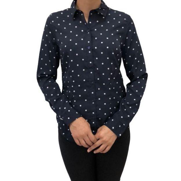 Camisa Feminina Social Manga Longa Azul Marinho com Poás