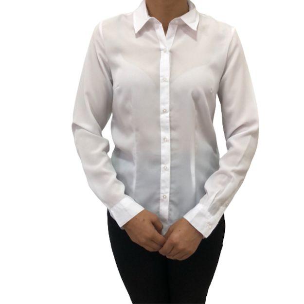 Camisa Feminina Social  Manga Longa na Cor Branca