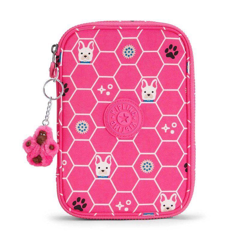 Estojo Grande 100 Pens Kipling Pink Dog