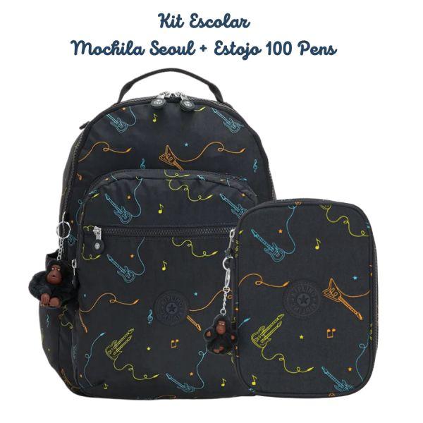 Kit Escolar Mochila Seoul + Estojo 100 Pens Kipling Rock On