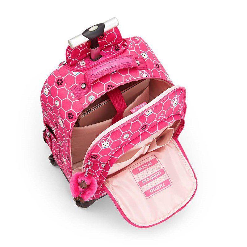Mochila de Rodinhas Echo Kipling Pink Dog