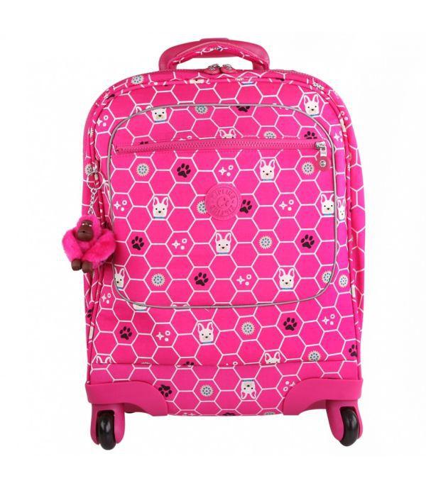 Mochila de Rodinhas Licia Kipling Pink Dog GANHE um Estojo Freedom
