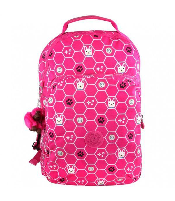 Mochila Escolar Gouldi Kipling Pink Dog