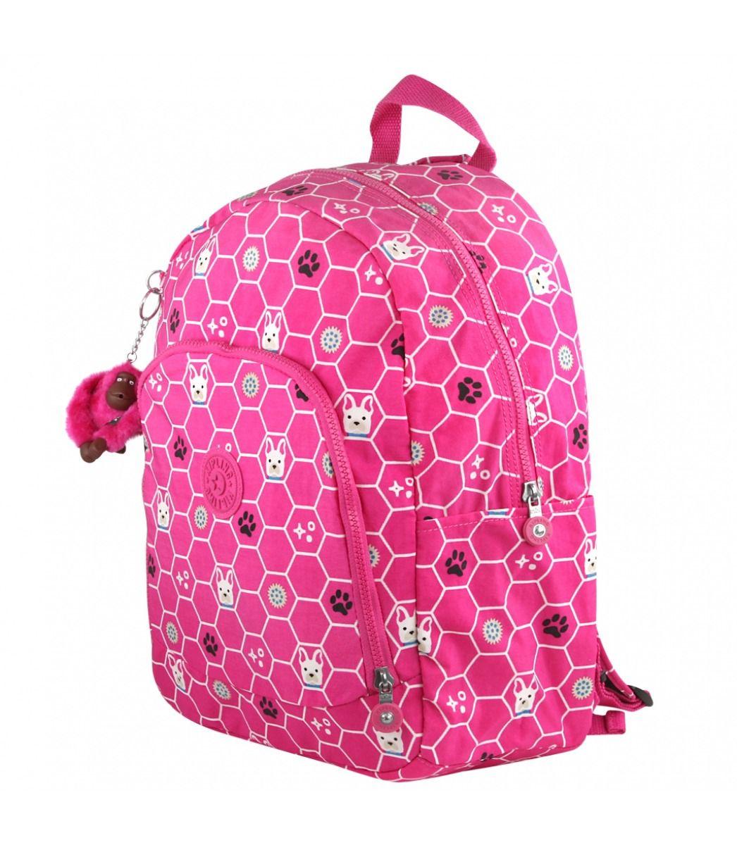 Mochila Escolar Kipling Carmine Pink Dog
