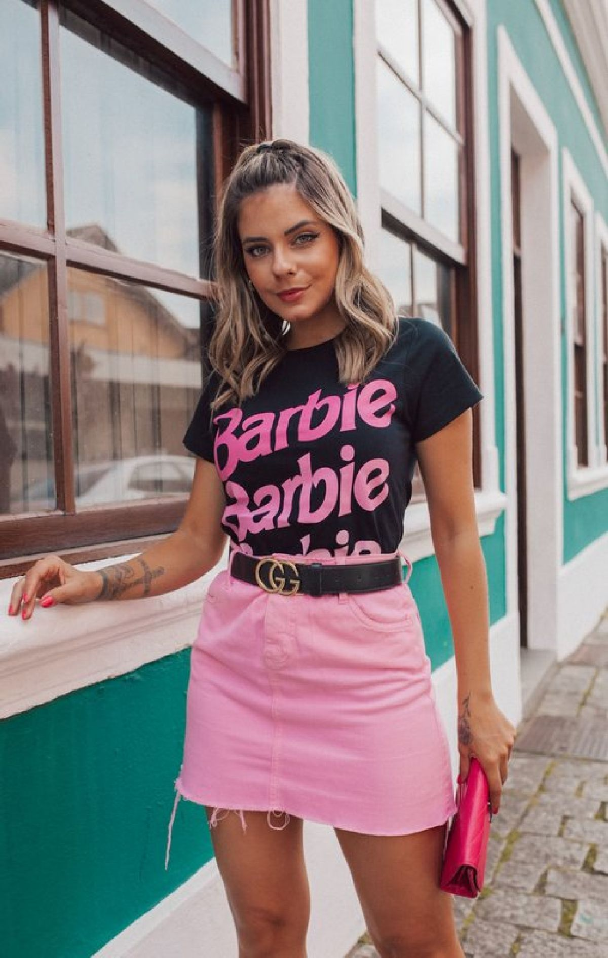 T-Shirt Preta Estampa Barbie