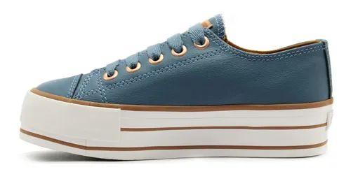 Tênis Feminino Likes Plataform Class Capricho Azul com cobre