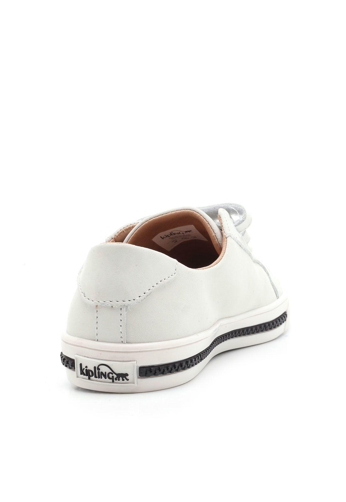 Tênis Kipling Couro com Velcro Branco 60336