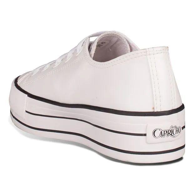 Tênis Feminino Likes Plataform Class Capricho Branco com preto