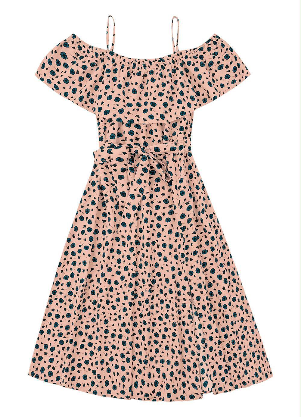 Vestido Rosa Estampado Decote Ombro a Ombro