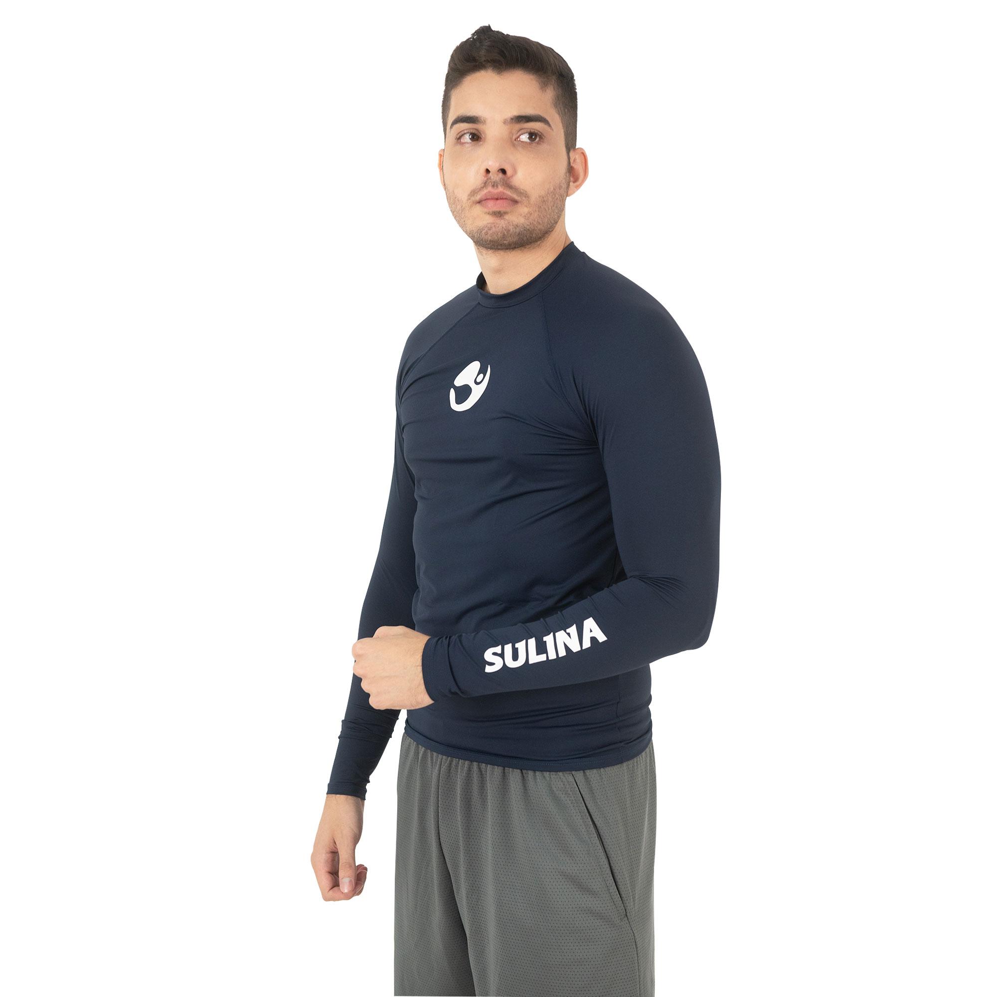 Camiseta Sulina Manga Longa UV 50+  Térmica Azul Escuro