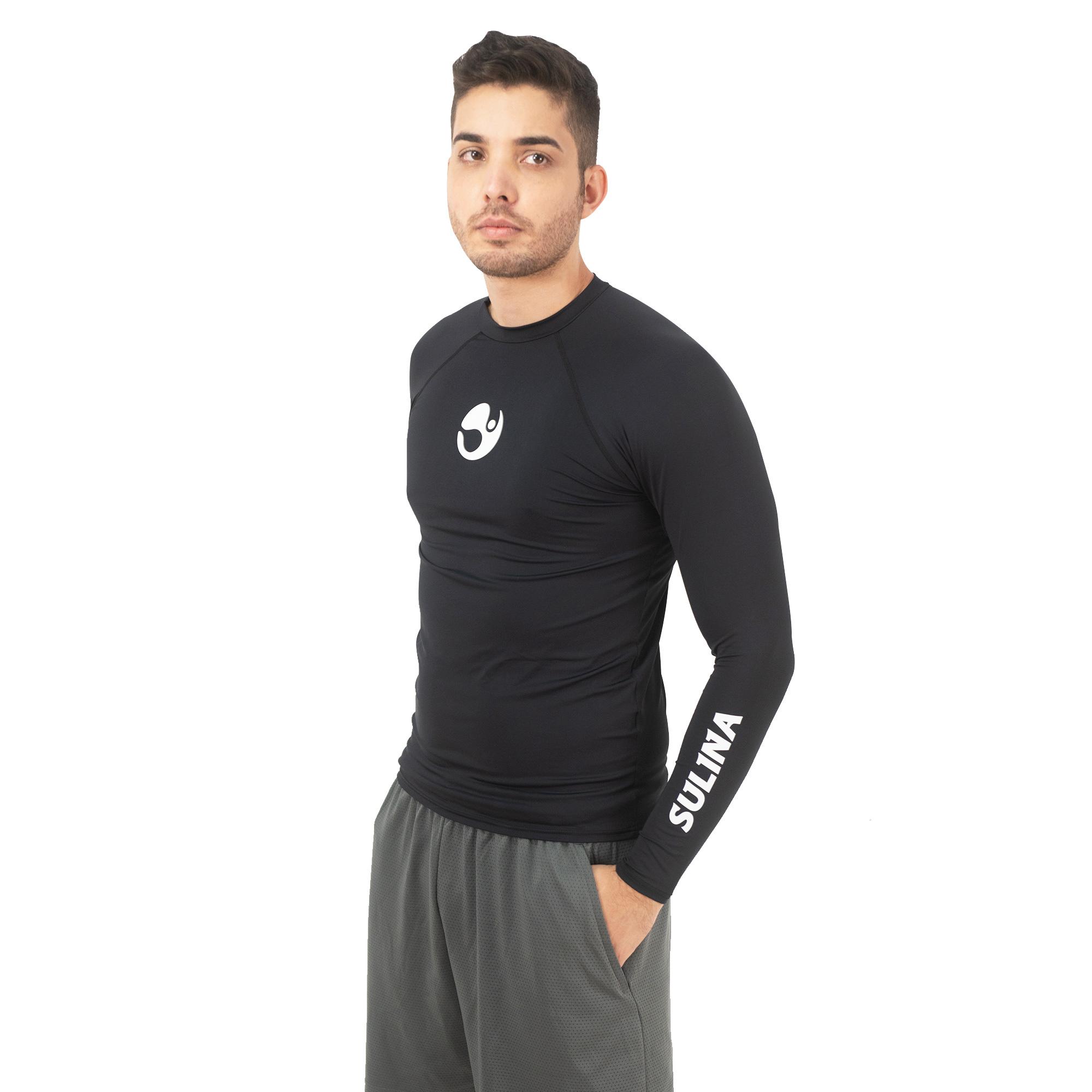 Camiseta Sulina Manga Longa UV 50+  Térmica Preta