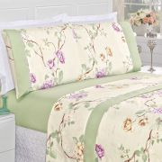 d1fa482d25 Jogo de Cama Naturale Casal Queen Tecido Micropercal Floral 200 Fios 4 Peças  - Palha Verde