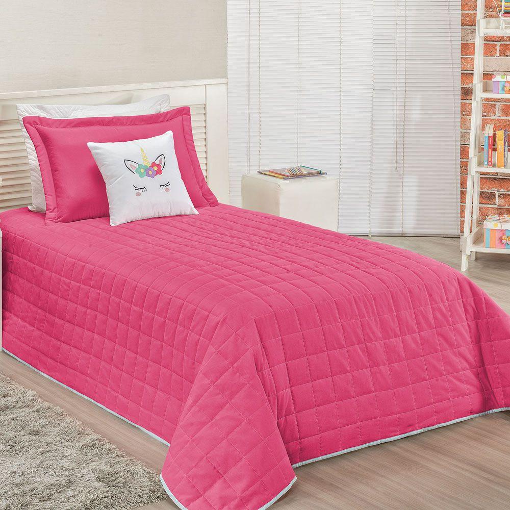 aff56994e5 Cobre Leito Solteiro Unicórnio Tecido Micro Fibra c  Almofada 4 Peças - Pink