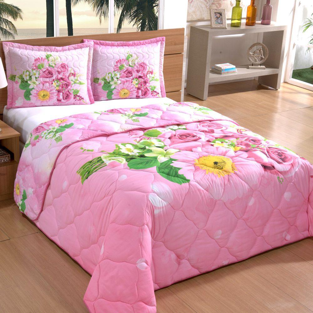 fd0c2eb080 Edredom Casal Queen Dupla Face Estampa Digital Floral 3 Peças - Rosa