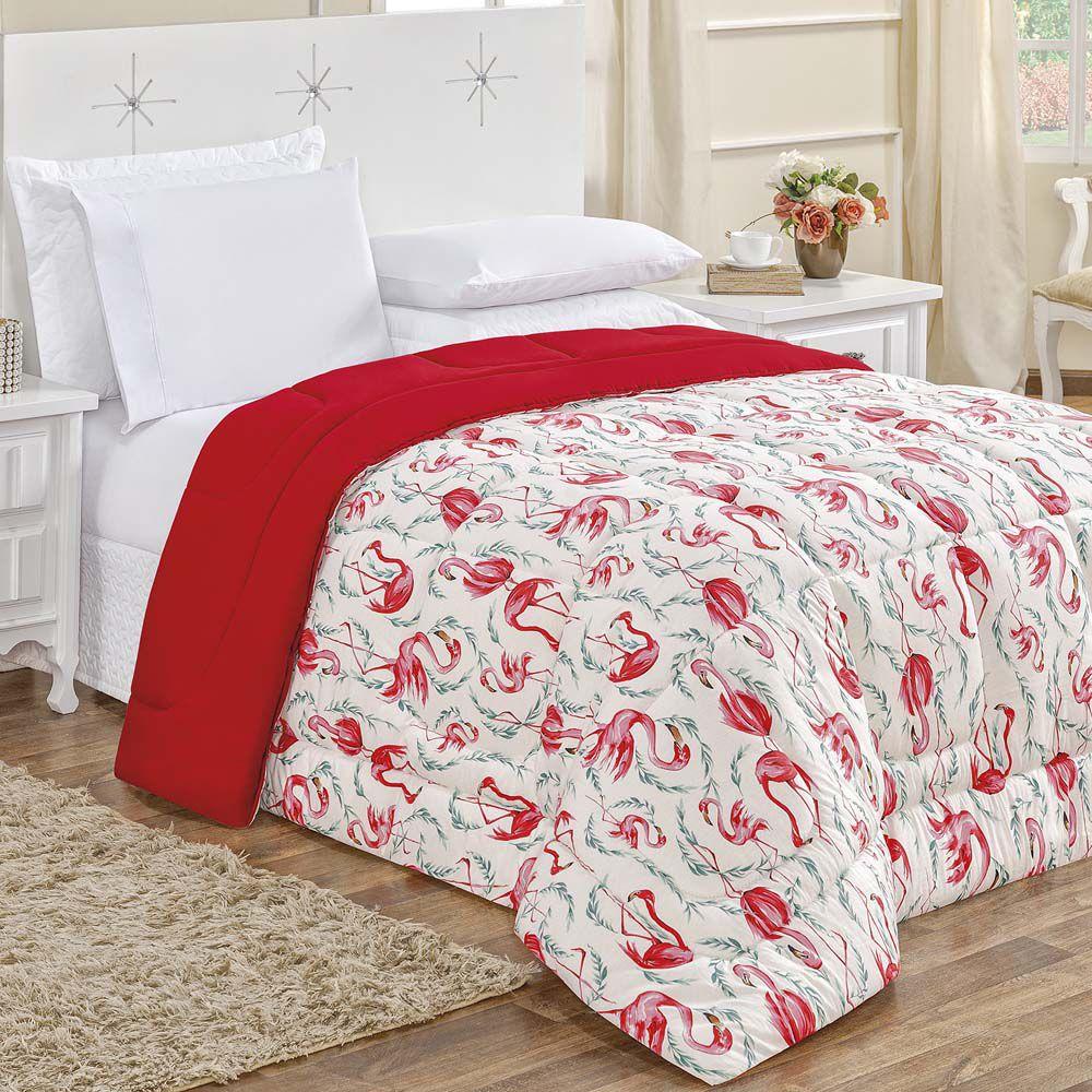 3f6bc85c51 Edredom King Quality Estampado Dupla Face 100% Algodão Fio Penteado 1 Peça  - Flamingo Vermelho