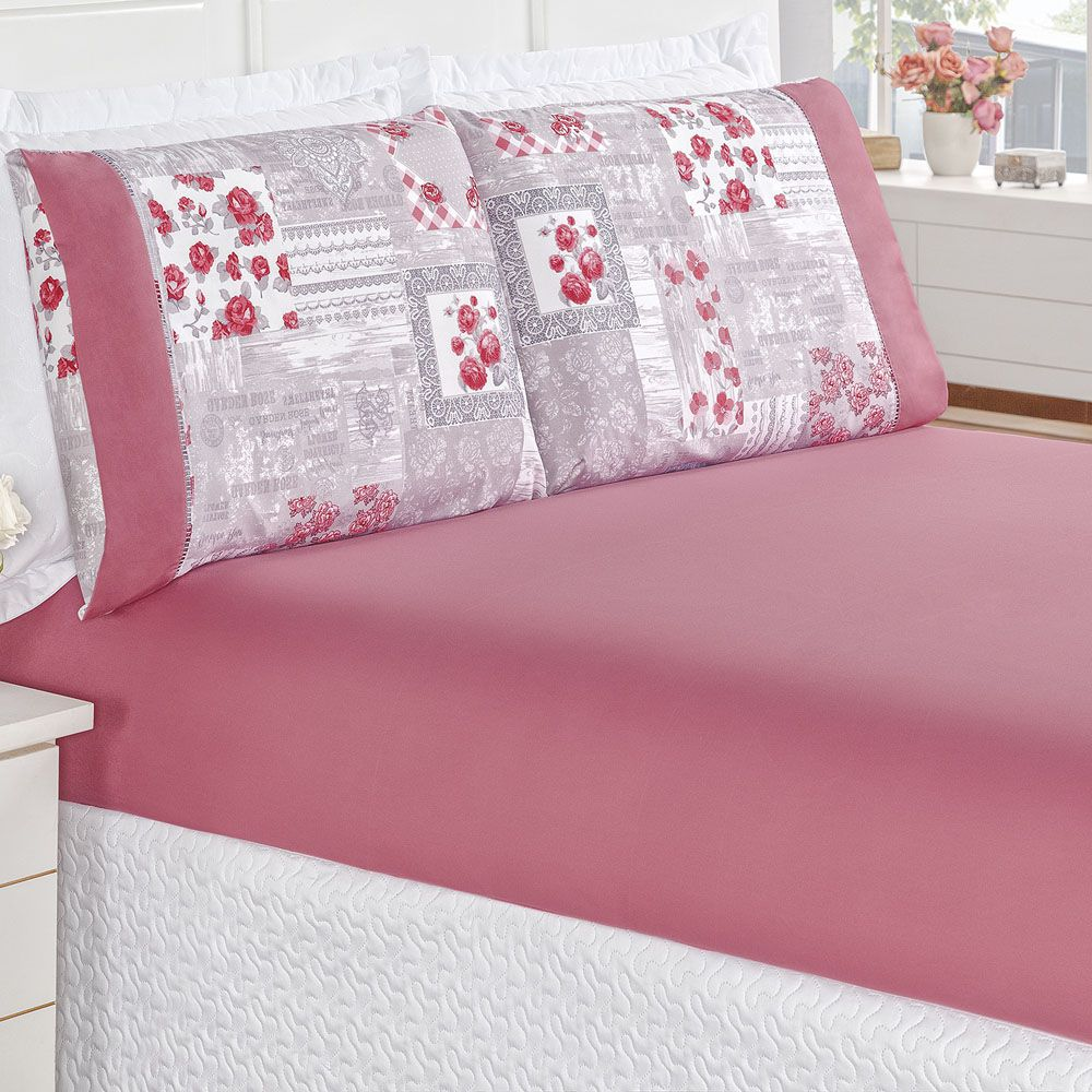 b78c6d5747 Jogo de Cama Naturale Casal King Tecido Micropercal Patchwork 200 Fios 3  Peças - Pink