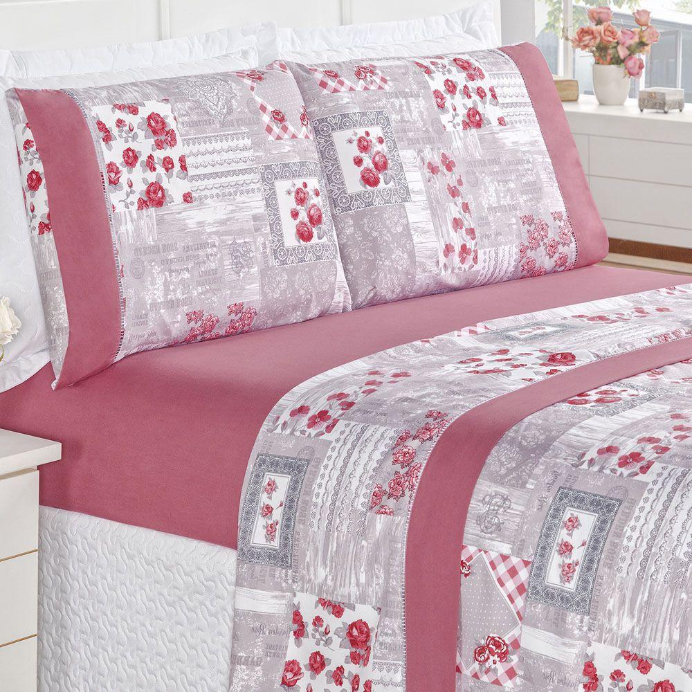 3d5c567c34 Jogo de Cama Naturale Casal Padrão Tecido Micropercal Patchwork 200 Fios 4  Peças - Pink