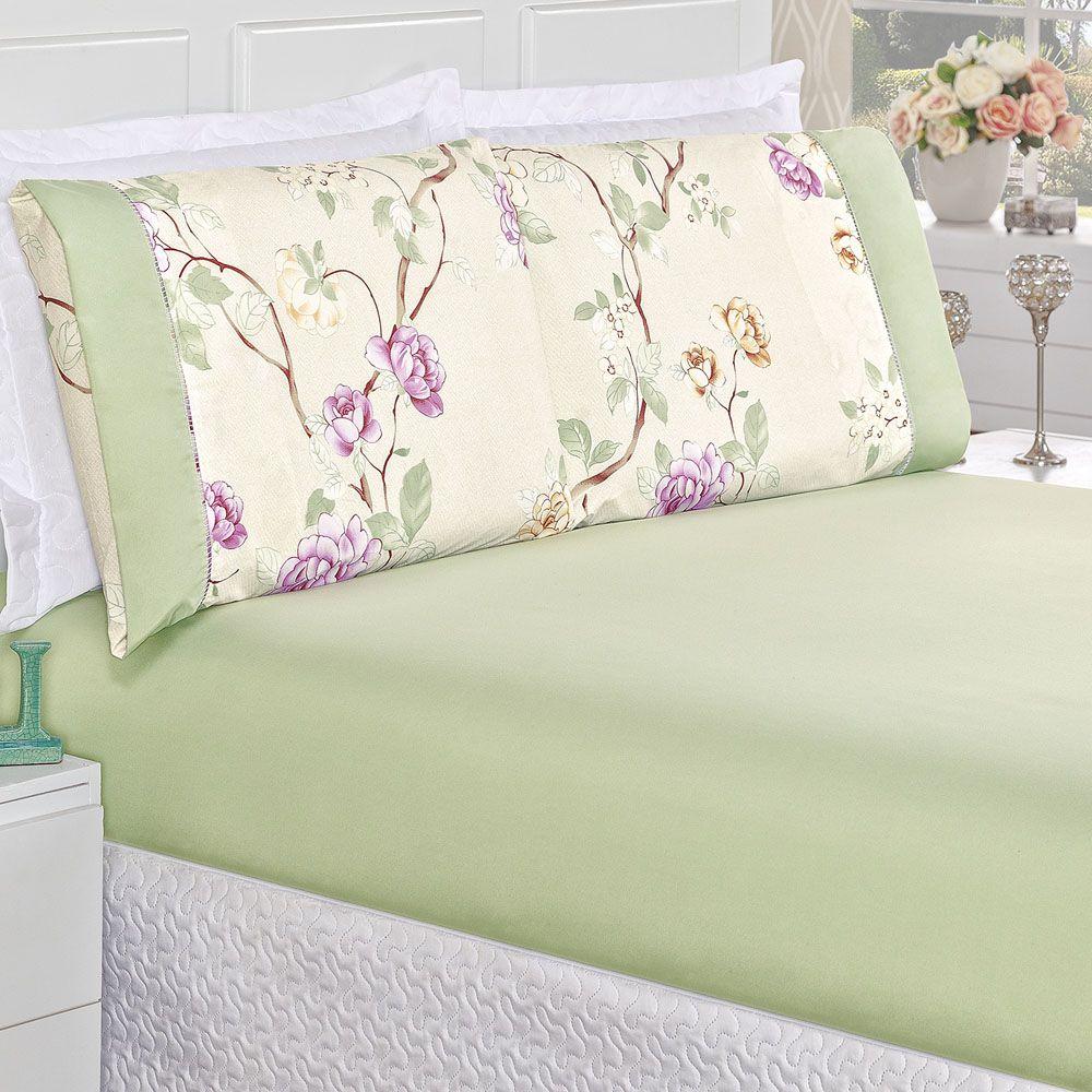 0396659b08 Jogo de Cama Naturale Solteiro Tecido Micropercal Floral 200 Fios 2 Peças -  Palha Verde