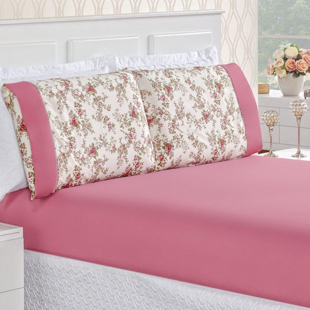 6b55ddc28e Jogo de Cama Naturale Solteiro Tecido Micropercal Florzinhas 200 Fios 2  Peças - Pink