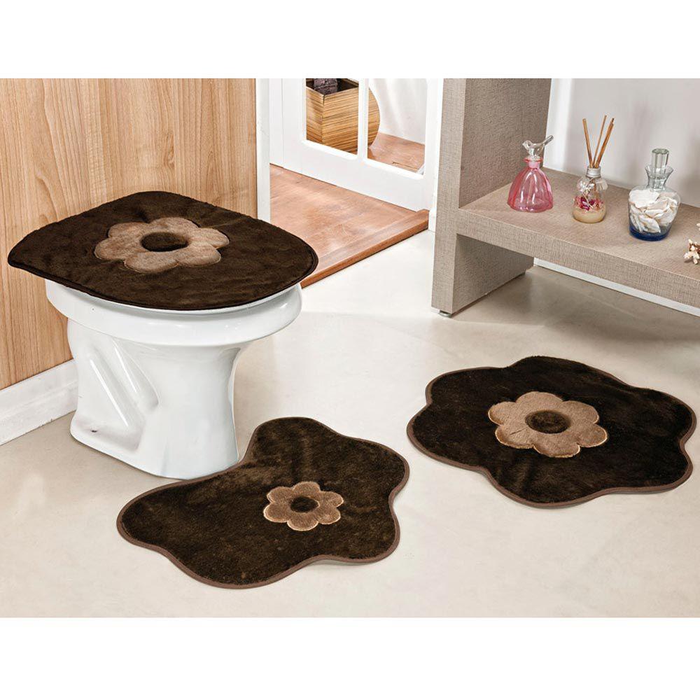 14062c0981 Kit Tapetes Banheiro Margarida Standard 3 Peças - Casa Scarpa Enxovais