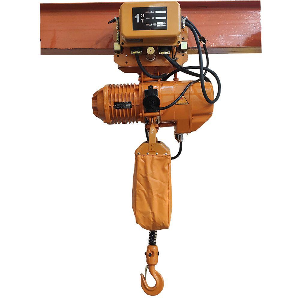 Talha Elétrica 1 Tonelada - 6m de Corrente - 220/380v 60hz com Troller