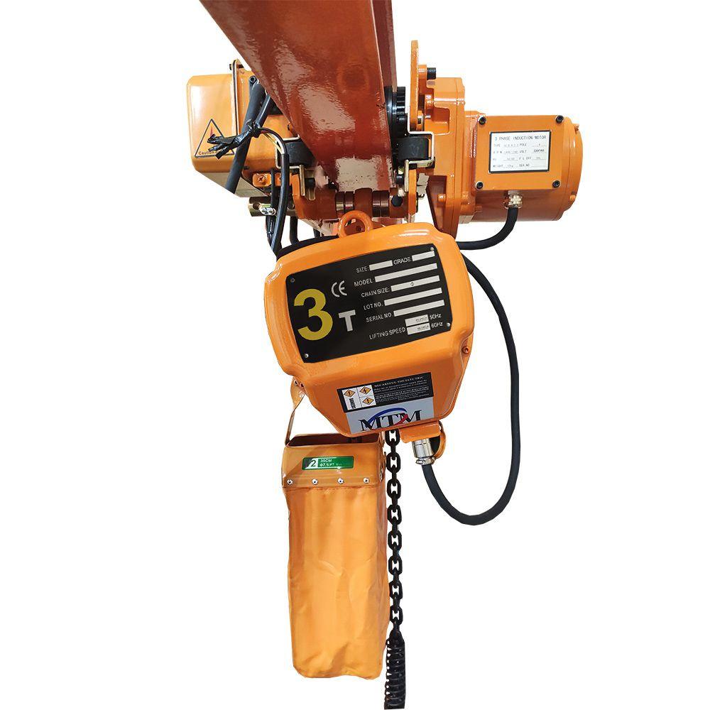 Talha Elétrica 3 Toneladas - 6m de Corrente - 220/380v 60hz com Troller