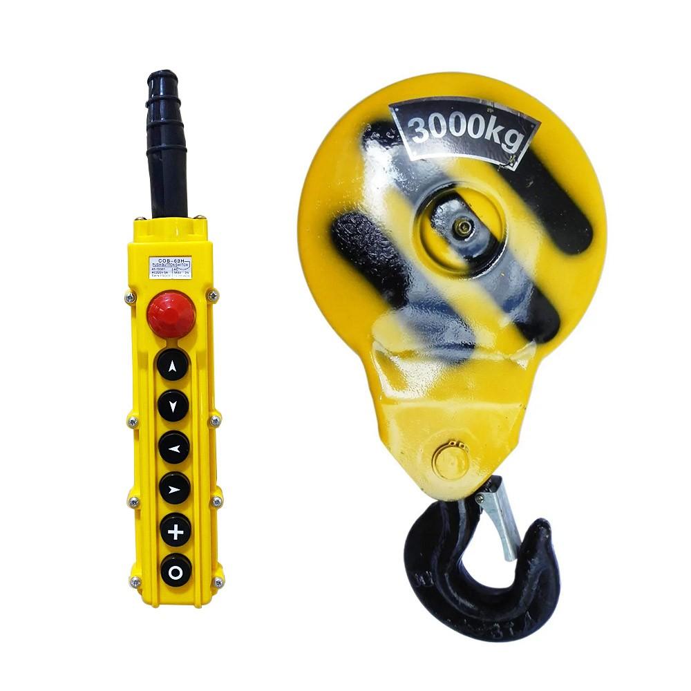 Talha Elétrica 3 Toneladas CD1 (Uma Velocidade) - 9m de Cabo de Aço - Troler 220/380v 60hz