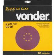Disco De Lixa 225mm Grão 240 P/ Lixadeira Lpv 600 E Lpv1000 Vonder