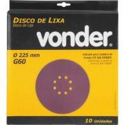 Disco De Lixa 225mm Grão 60 Para Lixadeira LPV 600 e LPV1000 VONDER 10un
