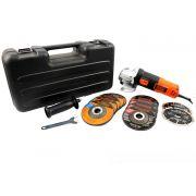 """Esmerilhadeira 4 1/2"""" - 820 Watts - 11,000 RPM com 12 Discos Linha Pro Black+Decker"""